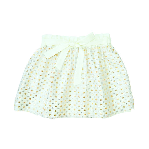 Anne Kuris, Girls Skirt Gold and Silver Polkadot from Angelibebe