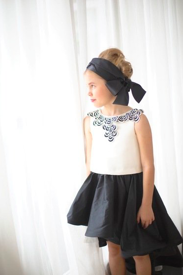 Black and White Modern Flower Girl Dress by Lulla Couture