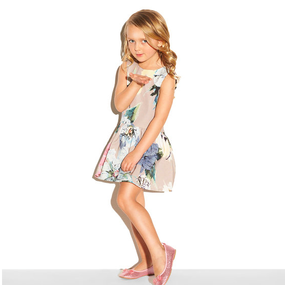 Designer Kids Clothing Girls Party Dress Floral Print