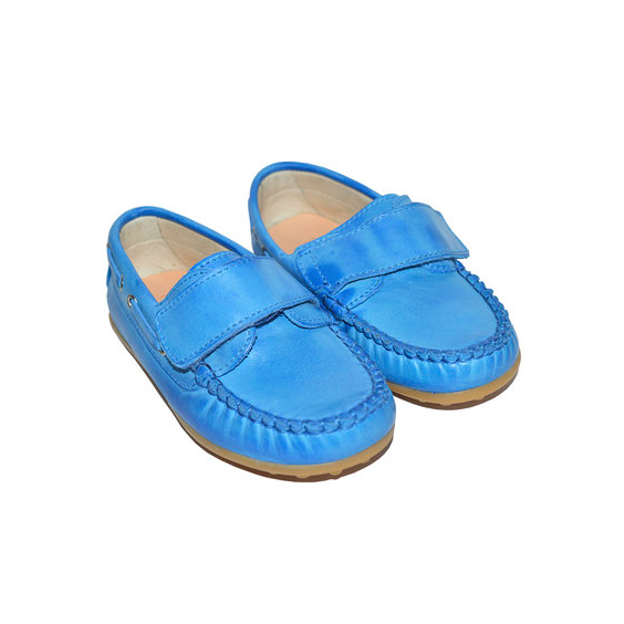 Designer Kids Shoes Blue Leather Loafers