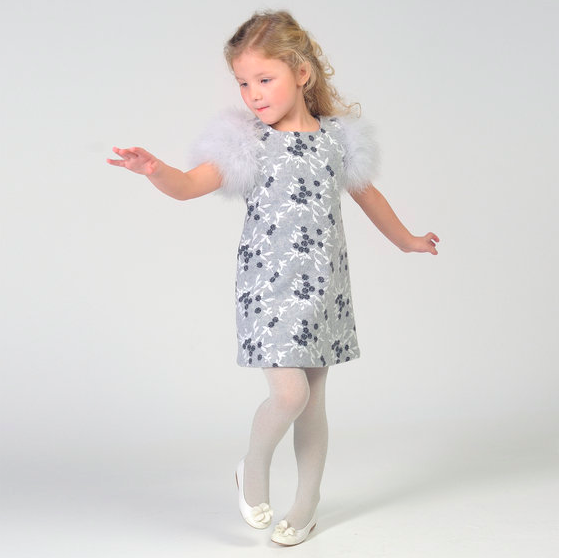 Gray Flower Girl Dress by Charabia