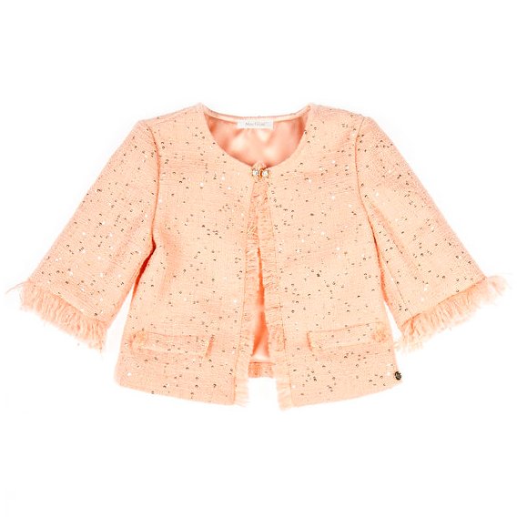 Flower Girl Layers Girls Peach Tweed Jacket