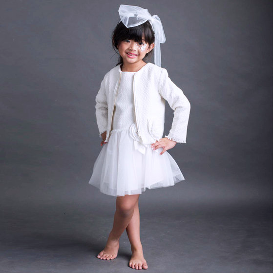Flower Girl Layers Girls White Tweed Jacket