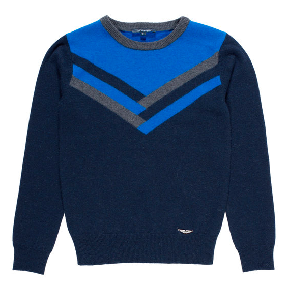 Boys Navy Blue Stripe Sweater, Kids Designer Clothes