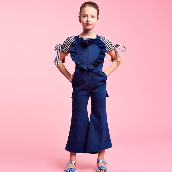 Ruffle Denim Overalls, Designer Kids Clothes