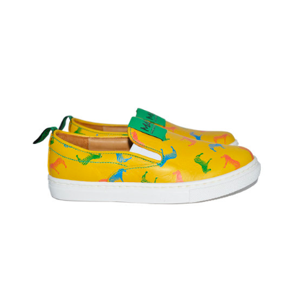 Unisex Yellow Leather Shoes, Designer Kids Clothes