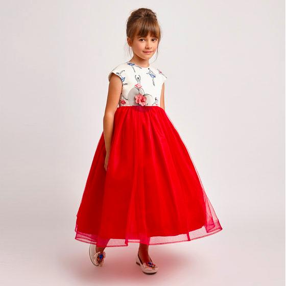 Red Modern Flower Girl Dress by Graci