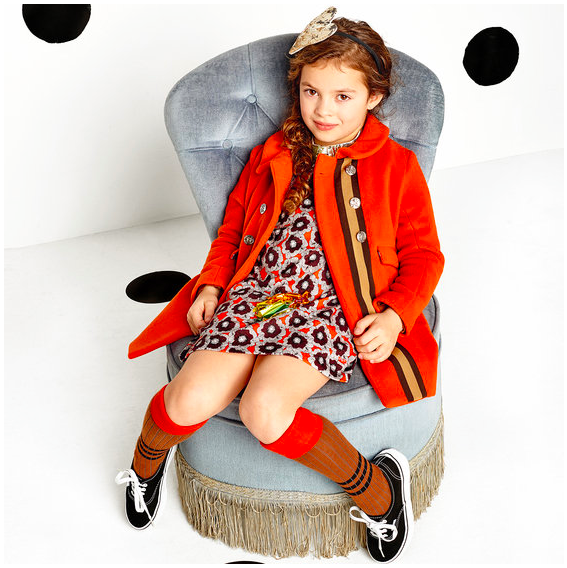 Kids Orange Wool Coat by Sonia Rykiel Enfant