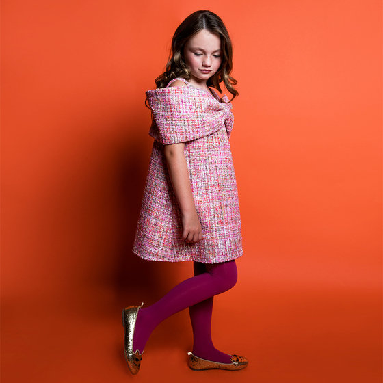 New Season: Ariel Dress in Pink Sparkle Tweed