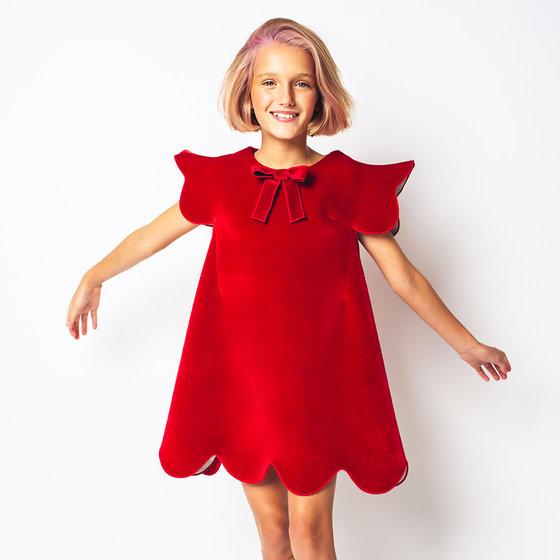 """Girl """"Elf"""" Red Velvet Dress"""