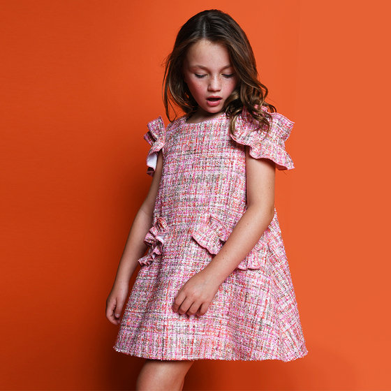 Christmas Dress in Pink Sparkle Tweed