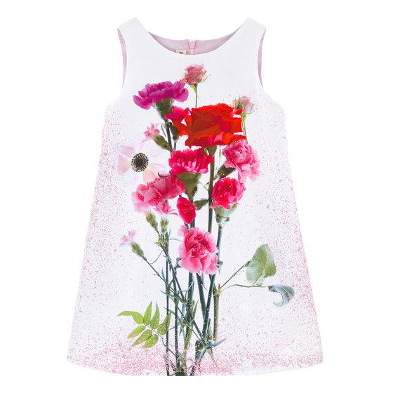 Bi-material Rose Print Dress