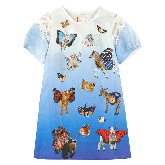Blue Animals Print Cotton Dress