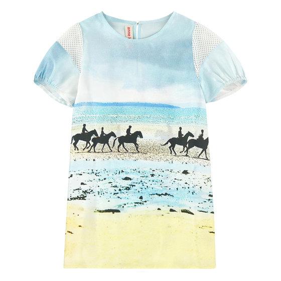 Horses Print Silk Dress