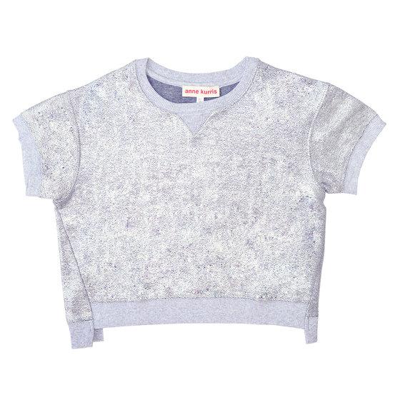 Colet bi-material silver sweatshirt