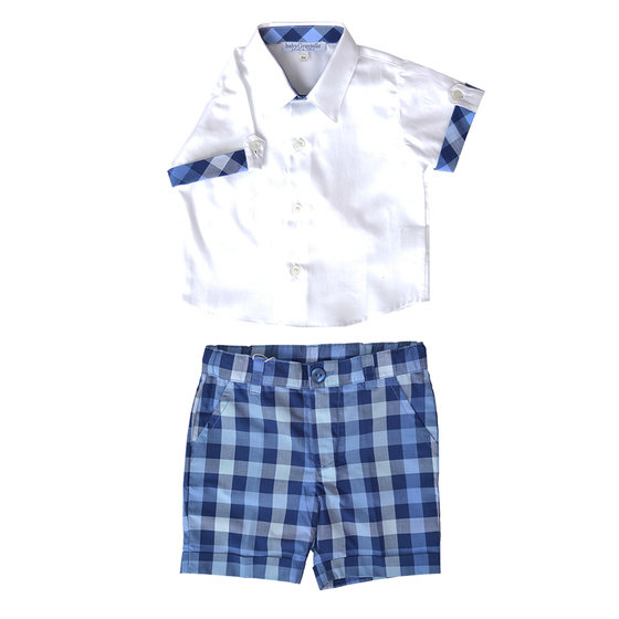 Baby Boys 2 Piece White Shirt & Navy Gingham Shorts