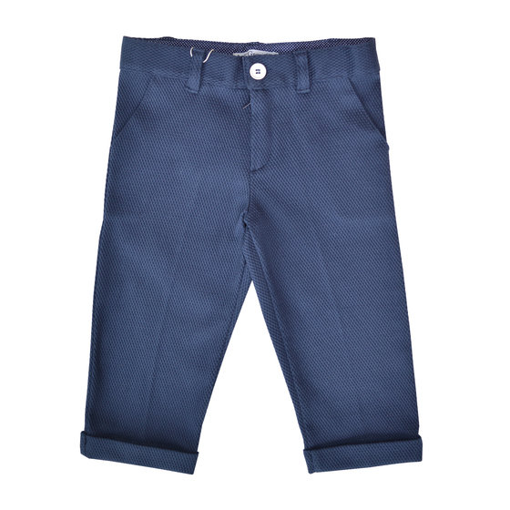 Sporty Navy Cotton Trousers