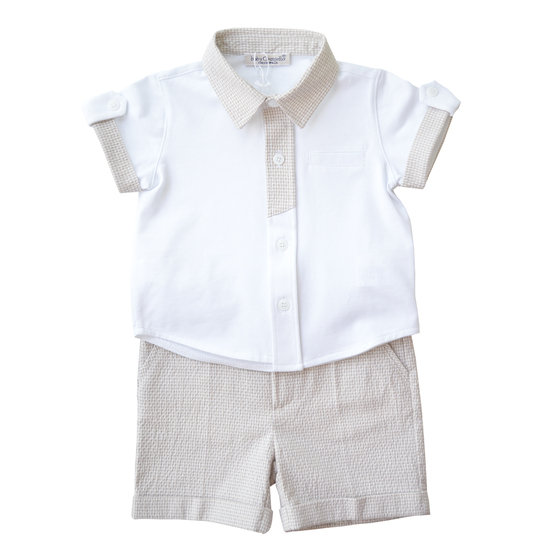 Baby Boys 2 Piece White Shirt & Light Brown Pattern Shorts