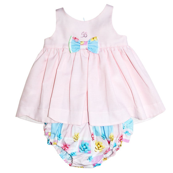 Baby Girl Sweet Pink Dress with Bloomer