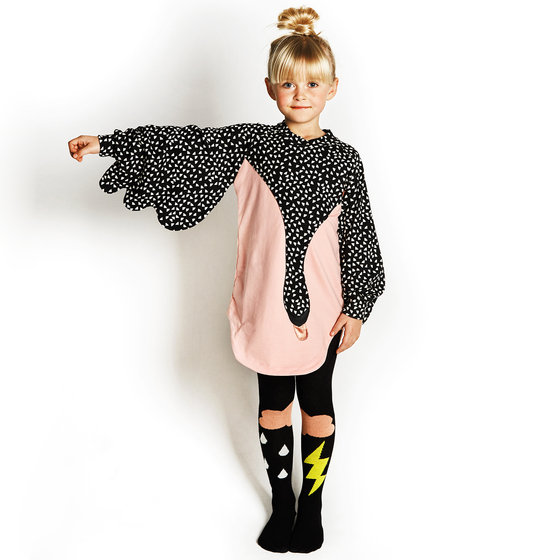 Pink and Black with White Freckle Swan Dress