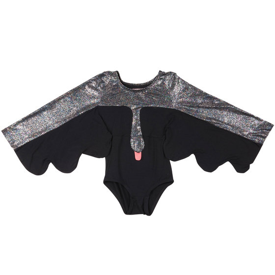 "Black and Metallic ""Electra"" Hummingbird Swan Gymsuit"