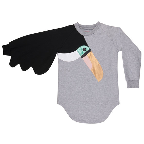 Sweater Dress with Toucan Applique