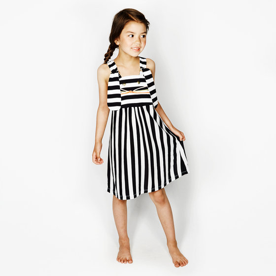 Black & White Stripes Bunny Face Pinafore Dress