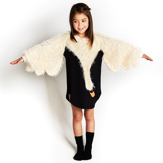 Raglan Swan Wing-Shaped with Furry Sleeves Dress