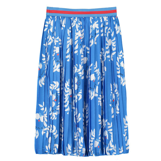 Girl's Blue Printed Long Pleated Skirt