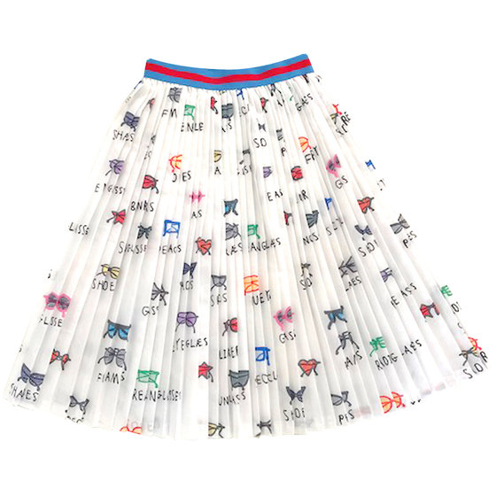 New Season: Girl's Spectacles AOP Long Pleated Skirt