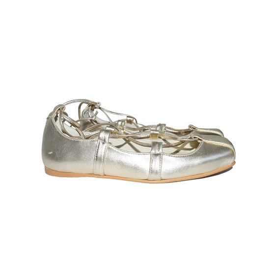 Ballerina Leather Shoes in Metallic Gold