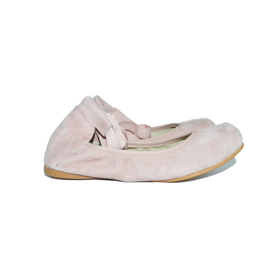 Square Tip Ballet Shoes in Light Pink