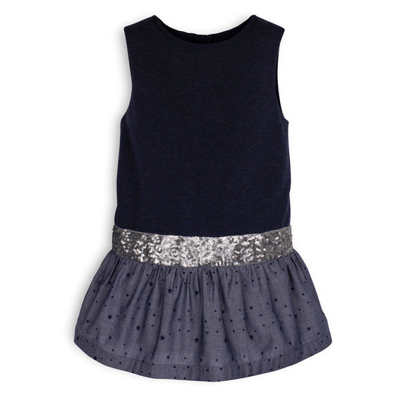 Blue Sequined Belt Dress