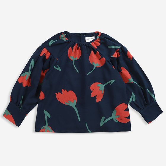 Big Flowers Woven Blouse