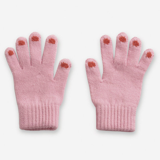Hands Pink Knitted Gloves