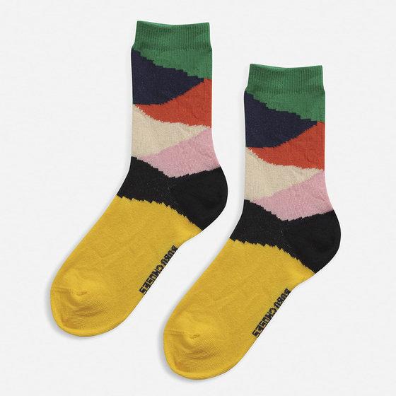 Multi Color Block Short Socks