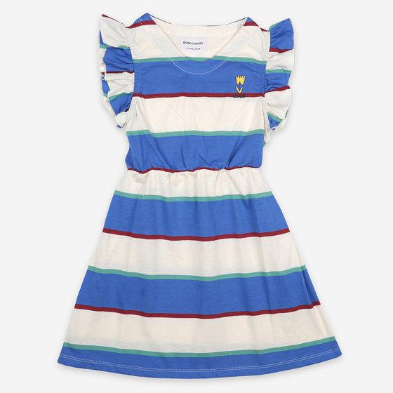 Stripes Jersey Ruffle Dress