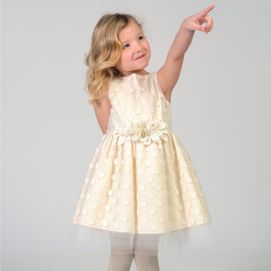Cream Embroidered Sleeveless Dress