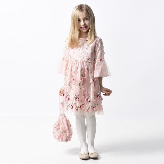 Pink Flower 3/4 Sleeves Dress
