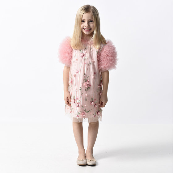 New Season: Girl Pink Flower Shift Dress with Tulle Sleeves