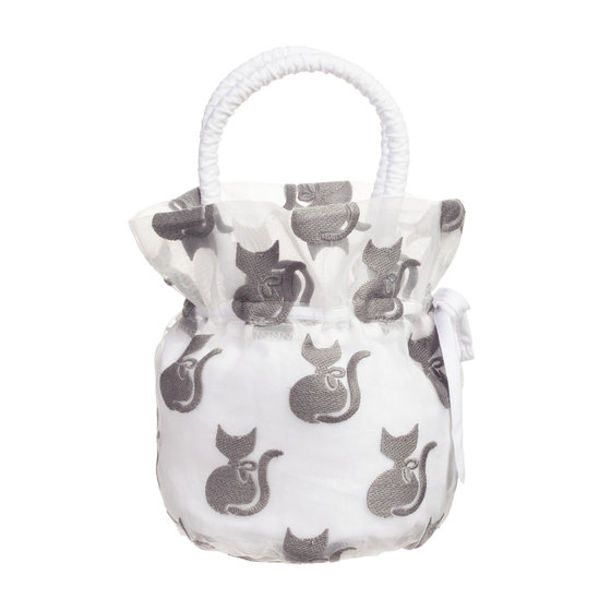 Grey and White Organza Bag