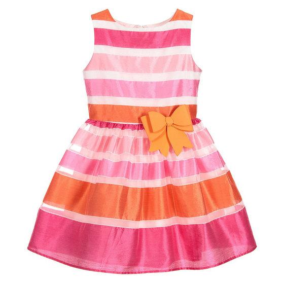 Fuchsia and Orange Striped Dress