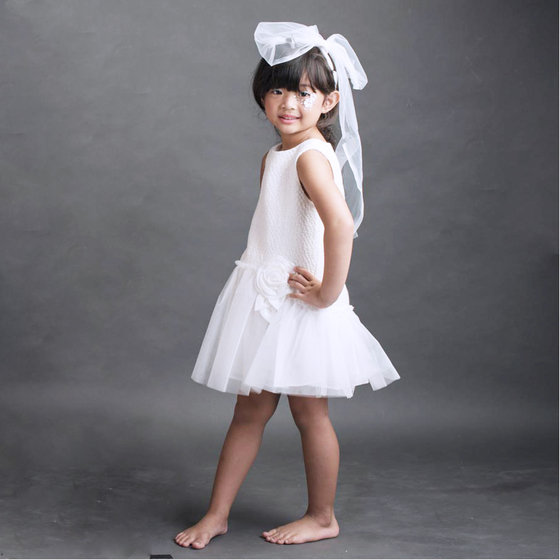 White Tweed and Tulle Sleeveless Dress