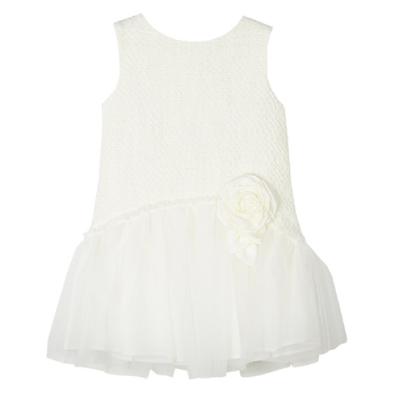 Off White Tweed and Tulle Sleeveless Dress