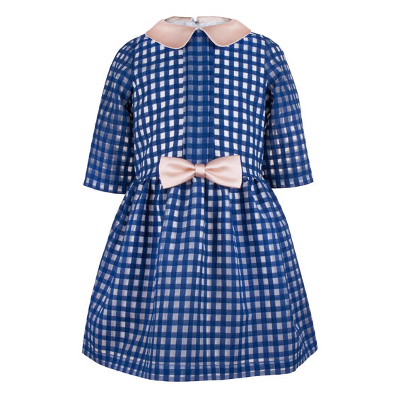 Cobalt Blue Gingham Tea Dress