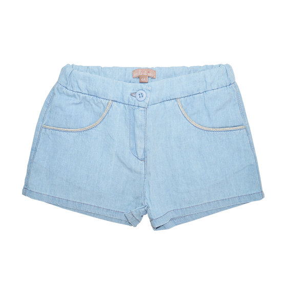 Chambray Girls Shorts With Glittering Threads