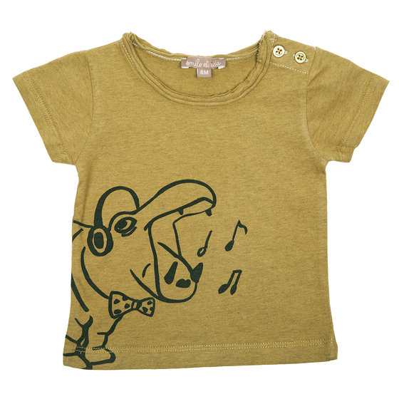 Khaki Hippo Print T-shirt