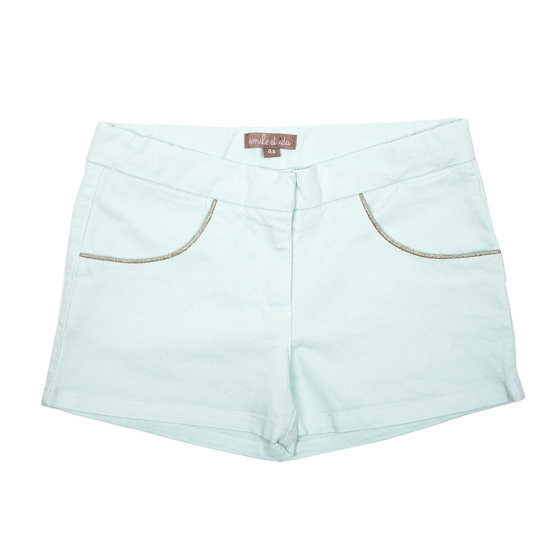 Mint Girls Shorts With Glittering Thread