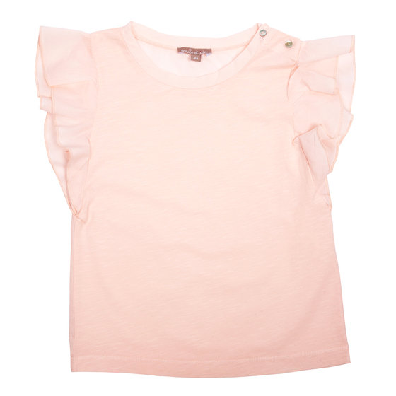 Pink Fringed Sleeves T-shirt