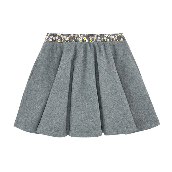 Floral on Grey Flannel Skirt
